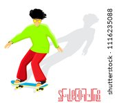 young guy rides on skateboard.... | Shutterstock .eps vector #1116235088