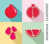 pomegranate juice seeds garnet... | Shutterstock .eps vector #1116241022