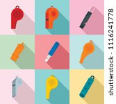 whistle coaching blow icons set.... | Shutterstock .eps vector #1116241778