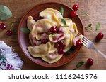 dumplings  filled with cherries ... | Shutterstock . vector #1116241976