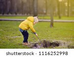little boy playing with puddle... | Shutterstock . vector #1116252998