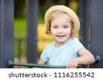 cute toddler girl outdoors... | Shutterstock . vector #1116255542