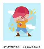 dabbing kid in flat style | Shutterstock .eps vector #1116265616