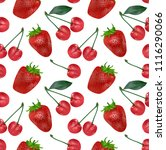 cherries and strawberries... | Shutterstock .eps vector #1116290066