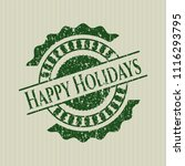 green happy holidays rubber... | Shutterstock .eps vector #1116293795