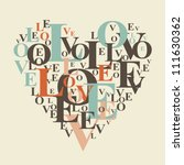 typography retro love heart | Shutterstock .eps vector #111630362