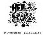black white hello summer...   Shutterstock .eps vector #1116323156