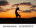 silhouette of a dancing woman... | Shutterstock . vector #1116324515