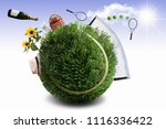 tennis ball made from grass... | Shutterstock . vector #1116336422