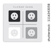 power socket flat black and... | Shutterstock .eps vector #1116343058