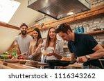 shot of a group of friends... | Shutterstock . vector #1116343262