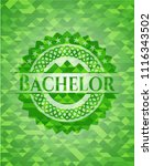bachelor realistic green emblem....   Shutterstock .eps vector #1116343502