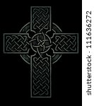 ancient celtic cross  black and ... | Shutterstock .eps vector #111636272