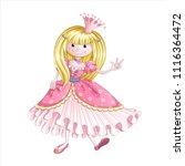 a little cute princess in a... | Shutterstock .eps vector #1116364472