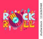 rock n roll label with vinyl.... | Shutterstock .eps vector #1116365468