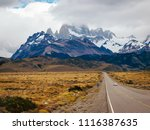 lonely road in patagonia | Shutterstock . vector #1116387635