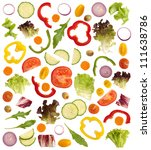 cut raw vegetables isolated on... | Shutterstock . vector #111638786