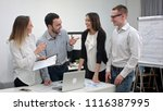 positive office people laughing ... | Shutterstock . vector #1116387995