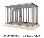 metal cage with lock side view... | Shutterstock . vector #1116397325