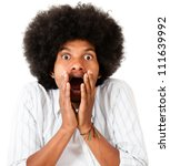 Shocked afro man - isolated over a white background - stock photo