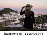 stylish travel blogger... | Shutterstock . vector #1116408995
