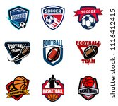 set of soccer football and... | Shutterstock .eps vector #1116412415
