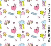 kawaii background with various... | Shutterstock . vector #1116412748