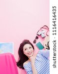 travel woman selfie happily and ... | Shutterstock . vector #1116416435