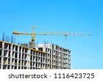 crane and building under... | Shutterstock . vector #1116423725