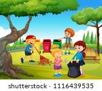 a group of children cleaning... | Shutterstock .eps vector #1116439535