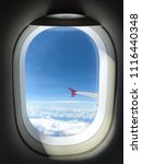 view of window seat in airplane. | Shutterstock . vector #1116440348