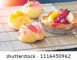 close up choux cream with bakery | Shutterstock . vector #1116450962