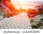 sea view from on stone walkway | Shutterstock . vector #1116452045