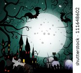 halloween card with ghost castle | Shutterstock . vector #111648602