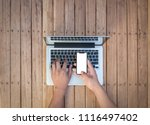 female  working on the laptop | Shutterstock . vector #1116497402