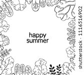 happy summer. frame   branches... | Shutterstock .eps vector #1116516902