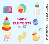 set of beautiful baby icons ... | Shutterstock .eps vector #1116538262