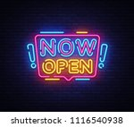 now open neon signs vector. now ... | Shutterstock .eps vector #1116540938