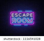 Escape Room Neon Signs Vector....