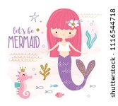 cute little mermaid and marine... | Shutterstock .eps vector #1116544718
