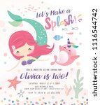 kids birthday party invitation... | Shutterstock .eps vector #1116544742