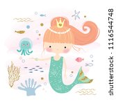 cute little mermaid and marine... | Shutterstock .eps vector #1116544748