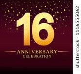 16 years anniversary logo with... | Shutterstock .eps vector #1116555062