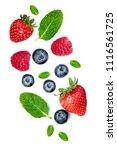 fresh berries isolated on white ...   Shutterstock . vector #1116561725