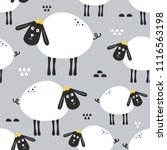 sheeps  hand drawn backdrop.... | Shutterstock .eps vector #1116563198