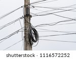 electric telegraphic pole with... | Shutterstock . vector #1116572252