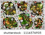 colorful vector hand drawn... | Shutterstock .eps vector #1116576935