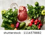 set healthy food on white... | Shutterstock . vector #1116578882