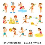children play in sand and have... | Shutterstock .eps vector #1116579485