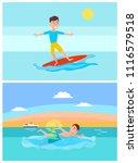 surfing and summer activities ... | Shutterstock .eps vector #1116579518